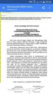 Oświadczenie wójta Birczy